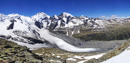 pers: Morteratsch and Pers glaciers from Munt Pers 3207m. St. Moritz, Switzerland