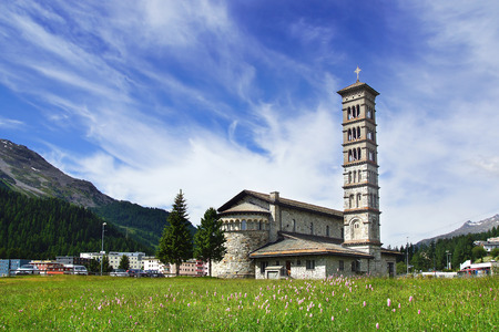 church bells: Picturesque nature landscape with church. St. Moritz, Switzerland