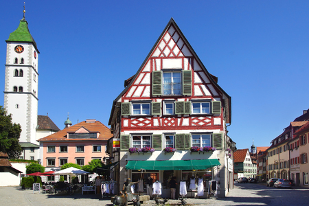 allgau: WANGEN IM ALLGAU, GERMANY - JUNE 30, 2015: Ancient historic medieval old town.The city was first mentioned in 815 under the name Wangun in a monastery document. Editorial