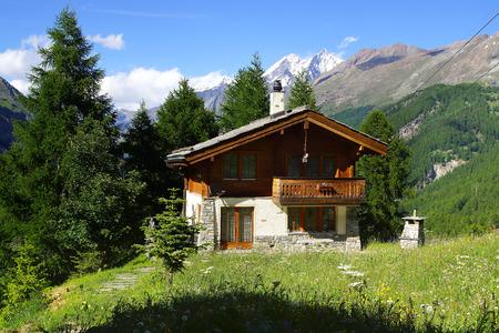 The beautiful landscape with chalet near Zermatt. Switzerland