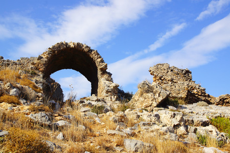 amphitheater: The ancient ruins of Amphitheater in Anemurium, Turkey