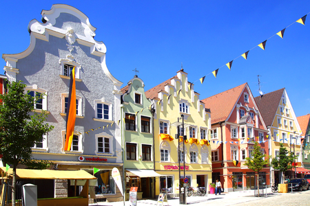 fachwerk: MINDELHEIM, GERMANY - JUNE 30, 2015: Ancient historic medieval old town. The picturesque town center of Mindelheim reflects the typical structure of a medieval settlement.