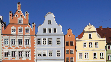 landshut: Ancient unique colourful house in historic medieval old town. Landshut is one of the towns on the Romantic Road which is located at Bavaria. Stock Photo