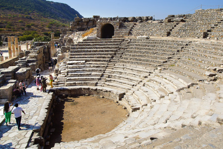 hadrian: Ruins of the ancient theater. Ephesus contains the largest collection of Roman ruins in the eastern Mediterranean. Stock Photo