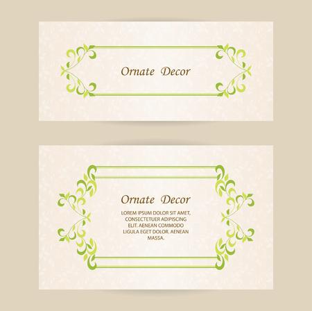 Vektor dekorativer Rahmen. Elegantes Element für Design-Vorlage, Platz für Text. Blumenrand. Schnüren Sie sich Dekor für Geburtstag und Grußkarte, Hochzeitseinladung.