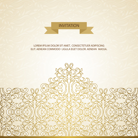 decorative element: Vector decorative frame. Elegant element for design template, place for text. Floral border. Lace decor for birthday and greeting card, wedding invitation. Illustration