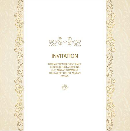 Vector Zierrahmen. Elegantes Element für Design-Vorlage, Platz für Text. Floral Grenze. Spitze Dekor für Geburtstag und Grußkarte, Hochzeitseinladung.
