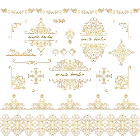 wedding decor: Vector decorative frame. Set elegant element for design template, place for text.Floral border. Lace decor for birthday and greeting card, wedding invitation.