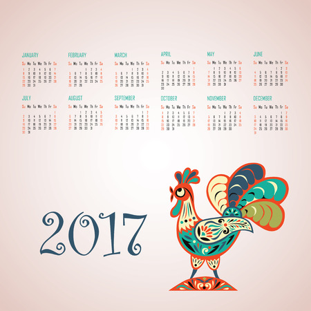 Calendar For 2017 Year With Fairy Rooster Chinese Symbol Of