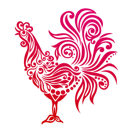 Vector illustration for 2017 year with fairy rooster - chinese symbol of new year.Image of 2017 year of Red Rooster.Vector element for New Year.