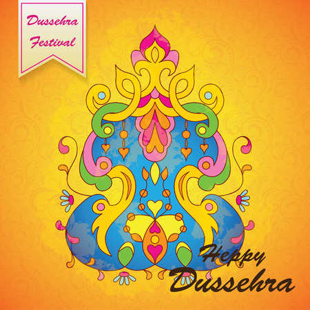 raavana: Dussehra festival background.Greeting card for Dussehra celebration in India.