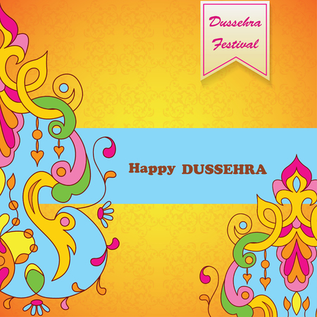 ramayan: Dussehra festival background.Greeting card for Dussehra celebration in India.