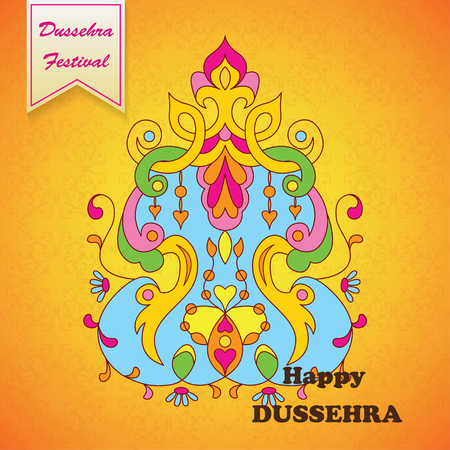 dharma: Dussehra festival background.Greeting card for Dussehra celebration in India.