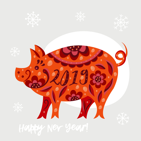 2019 Happy New Year greeting card. background with pig. Illustration