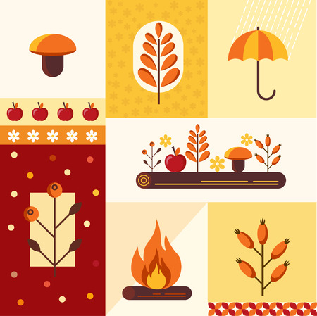 Vector set of autumn symbols mushroom, umbrella, bonfire, apple log briar apple
