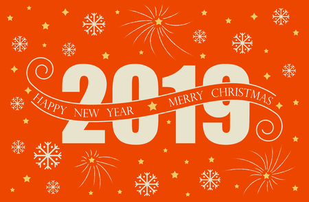 2019 Happy New Year card design. Vector happy new year greeting illustration red colored 2019 numbers and snowflake.