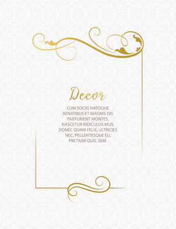 Template for greeting cards, invitations, menus. Wedding invitation. Decorative floral frame. Luxury floral frame. Ornate decor.
