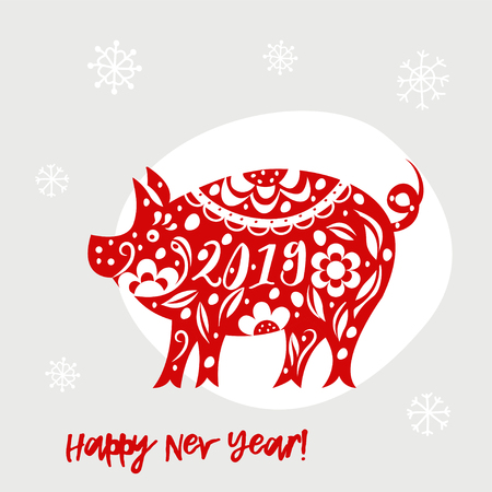 Celebration white background with pig. 2019 Happy New Year greeting card. Standard-Bild
