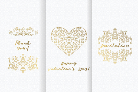 Valentine s day greeting cards. Set ornate element design templat. Invitation card. Illustration