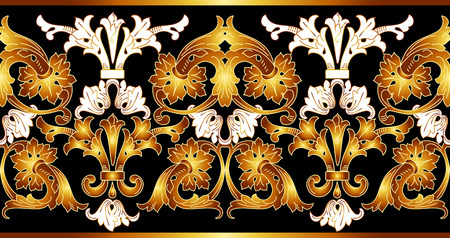 Border with golden elements. Vector golden seamless border. Luxury ornament in Eastern style. Golden ornate illustration. Illustration