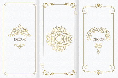 Ornate decor, border for invitation, card. Flourishes ornaments cards. Illustration