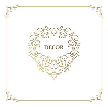 Ornate decor, border for invitation, card. Flourishes ornaments cards. Illustration