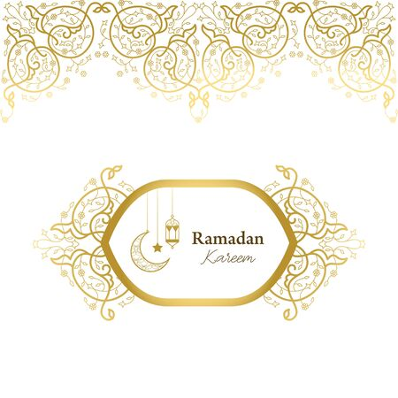 Vector card in islamic style, lace ornament, border, ramadan greeting, element for wedding decoration. Illustration