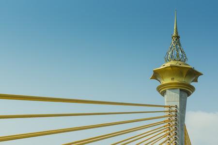 Column of sling Bridge Nonthaburi, with beautiful sunny in Thailand Archivio Fotografico