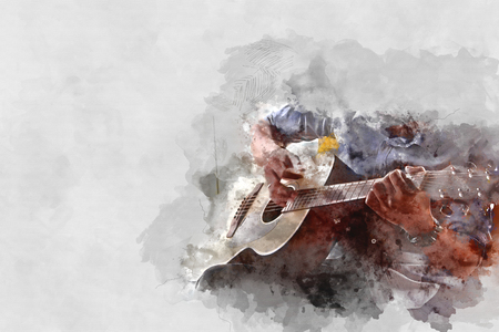 Playing Guitarist in the foreground. Close up, Watercolor paint Imagens