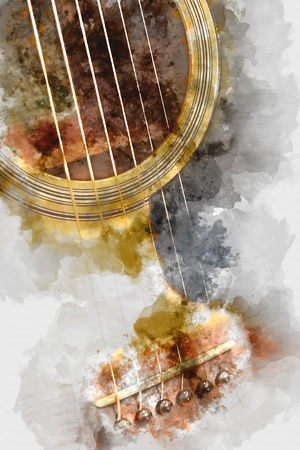 전경에서 추상 기타리스트. 닫습니다 수채화 페인트 스톡 콘텐츠