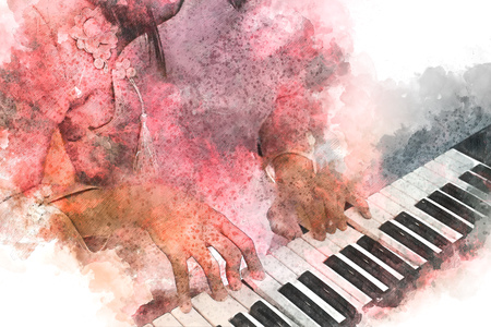 Woman playing piano keyboard on watercolor background Stok Fotoğraf - 79017605