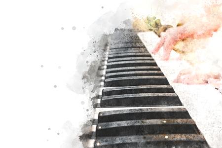 Vrouw het pianotoetsenbord op waterverfachtergrond