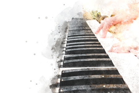 Woman playing piano keyboard on watercolor background Stock Photo