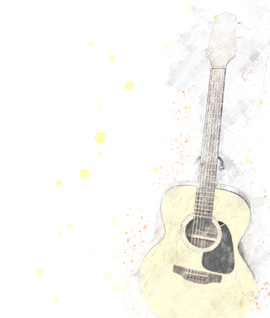 Guitar watercolor background, Guitar isolated. Stock Photo