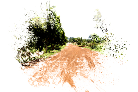 Tree and road in nature on watercolor painting background