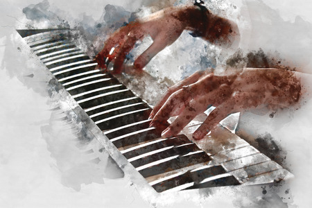 Beautiful woman playing piano keyboard on watercolor painting background.