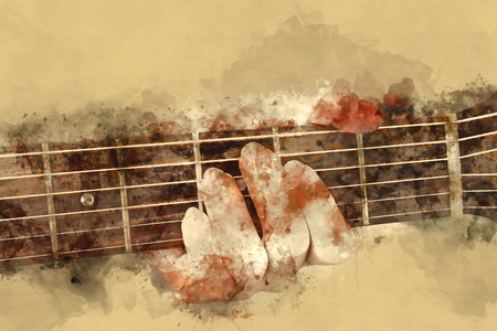 capo: Beautiful woman playing guitar on watercolor painting background.