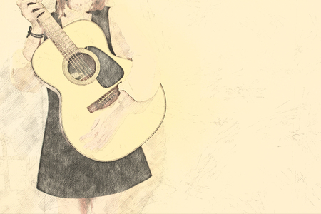 Beautiful woman playing guitar on watercolor painting background.
