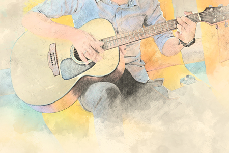 Man playing guitar on watercolor painting background.