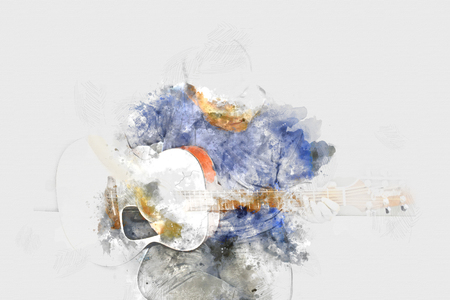 Playing Guitarist in the foreground. Close up, Watercolor paint Stock Photo