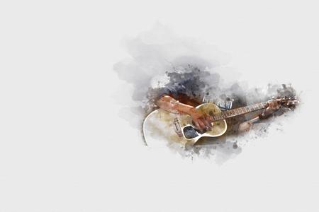 Gitarre spielen auf Aquarellhintergrund, Digital-Aquarellmalerei Standard-Bild - 81554247