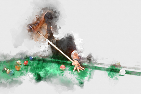 Abstract playing pool, man playing snooker ball on watercolor background. Stock Photo