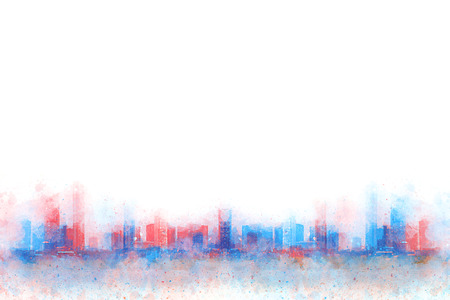 Abstract Building on watercolor painting background. City on Digital illustration brush to art. Banque d'images