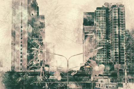 Abstract Building on watercolor painting background. City on Digital illustration brush to art. Фото со стока