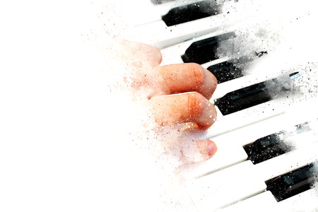 Abstract beautiful hand a woman playing keyboard of the piano foreground Watercolor painting background and Digital illustration brush to art. Standard-Bild