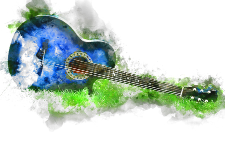 Abstract Guitar in the foreground Close up on Watercolor painting background. Foto de archivo