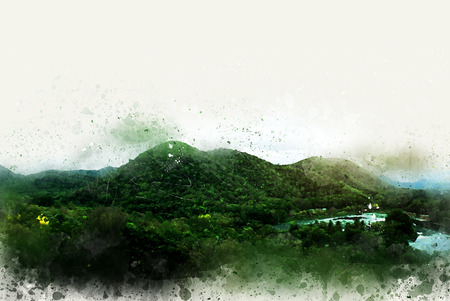 Beautiful exuberant mountains in Thailand on watercolor painting background.