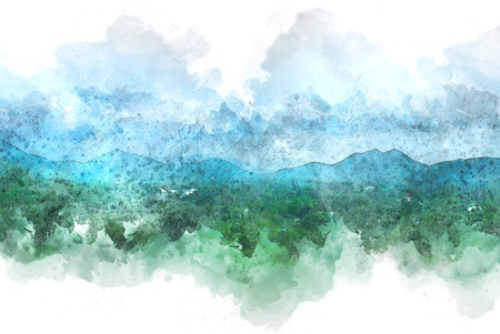 Beautiful colorful mountain peak watercolor painting background. Фото со стока