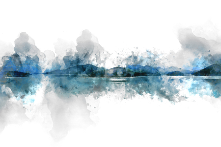 Abstract Mountain hill and river lake on watercolor painting background.