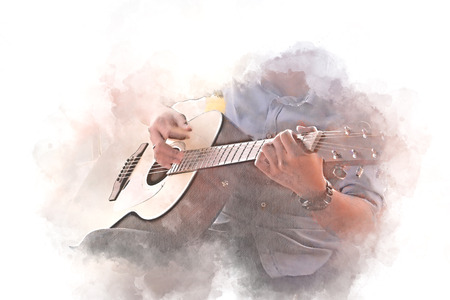 Abstract beautiful man playing Guitar in the foreground on Watercolor painting background and Digital illustration brush to art. 写真素材